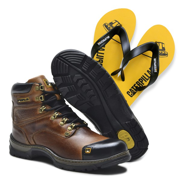 Bota Caterpillar 2189 - Avela + Chinelo Cat Amarelo