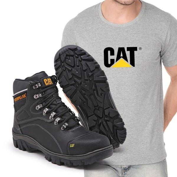 Bota Caterpillar 9820 - Preto Liso + Camiseta Cinza Cat