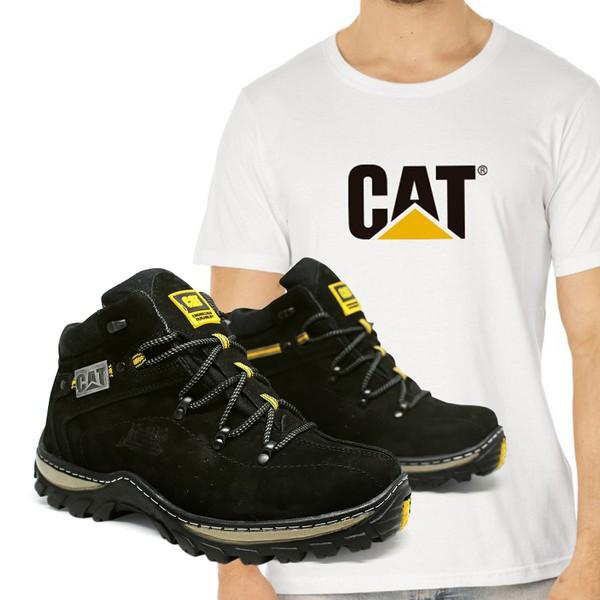 Bota Adventure CAT Experience - Preto + Camiseta Cat Copia