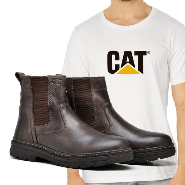 Bota Caterpillar Farmer Café + Camiseta Branca Cat