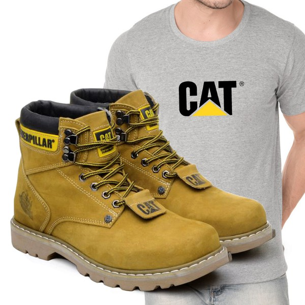 Bota Caterpillar Second Shift Milho + Camiseta Cinza Cat