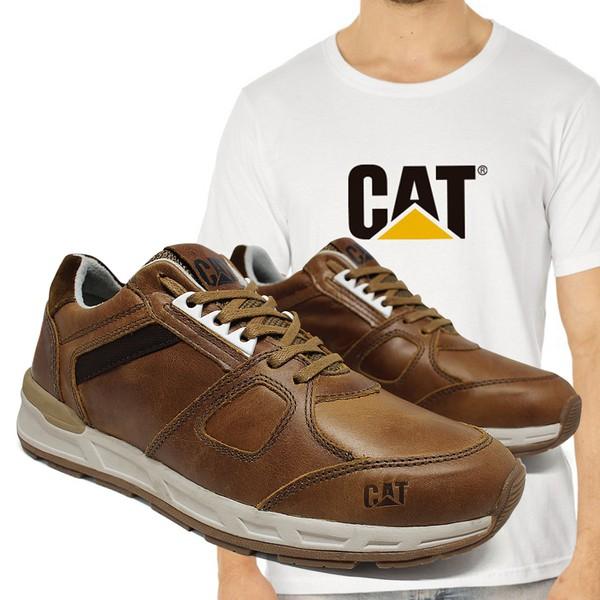 Tênis Caterpillar Woodward Cevada + Camiseta Branca Cat