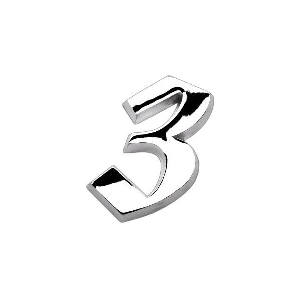 ALGARISMO NÚMERO 3 MÉDIO 10,5CM EM ALUMÍMIO