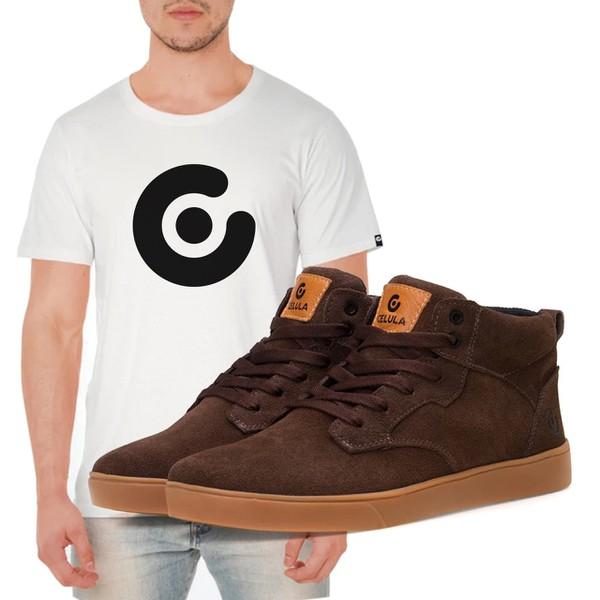 Tênis Célula Memb - Café / Latex + Camiseta Célula Branca