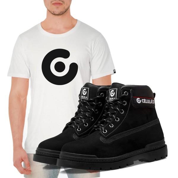 Bota Célula Thisbe - Preto + Camiseta Célula Branca
