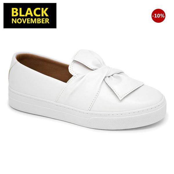 Tenis Slip on Laço Branco