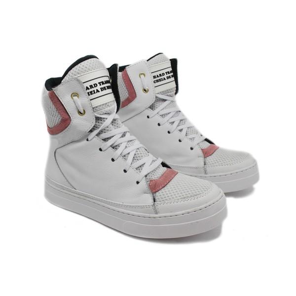 Tênis Sneaker Fitness Cheia de Marra Branco com Rosa