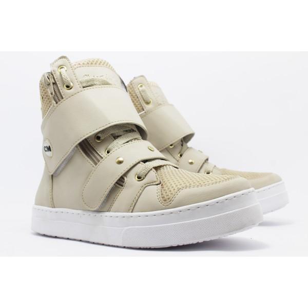 Tênis Sneaker Fitness Cheia de Marra 1901 Creme