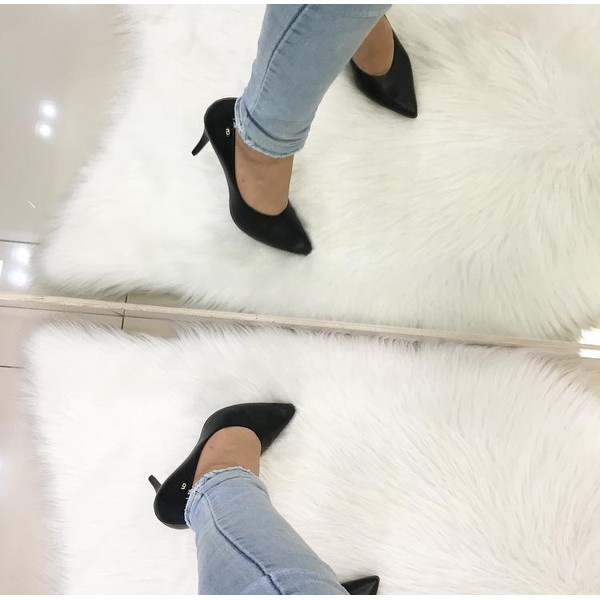 Scarpan Feminino Camminare Salto Fino Fosco Preto