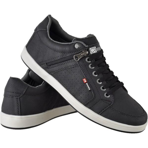 Sapatenis masculino casual CRshoes com ziper lateral preto