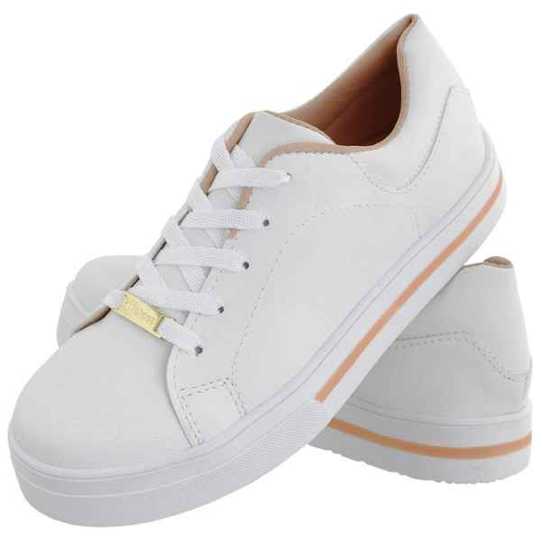 Tênis Feminino CRShoes Branco Rosa