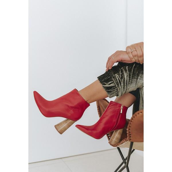 Ankle Boot Salto Cone Couro Mestiço Vermelho