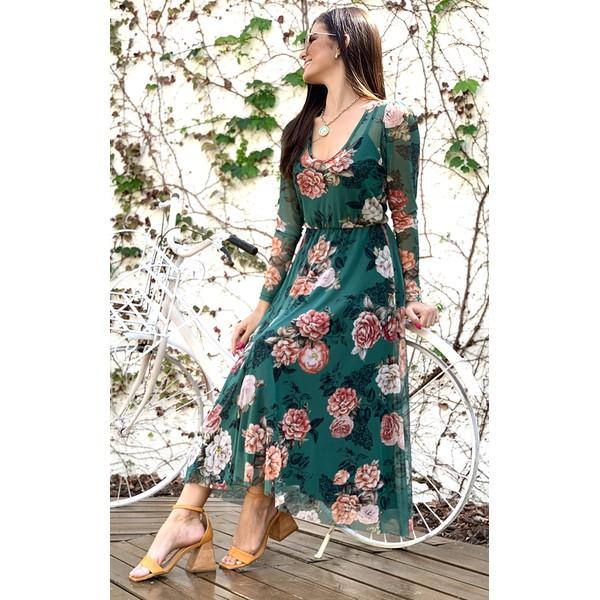 Vestido Tule Estampa Rosas