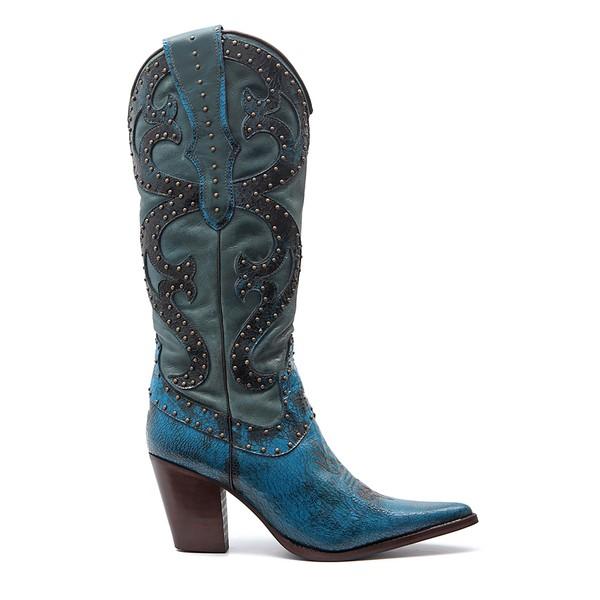 Bota Country Feminina Tucson Elsa - Escamada - Azul