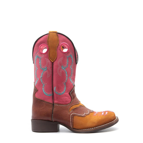 Bota Infantil Country Feminina Tucson Jolly - Indiano - Castanho/Rosa