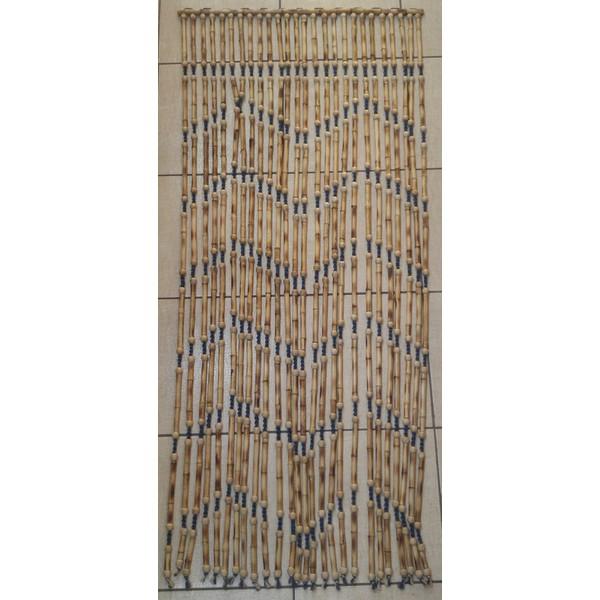 Cortina de Bambu Natural C/sisal Azul Trançado E Bola Madeira