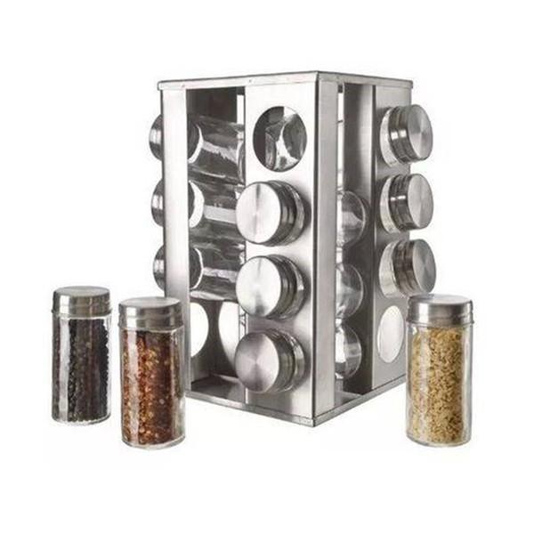 Porta Condimento-Tempero de Inox com 20 potes
