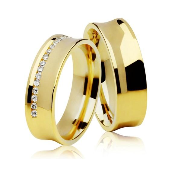 Alianças de casamento e noivado em ouro 18k 750 concavo com diamantes 6,50 mm