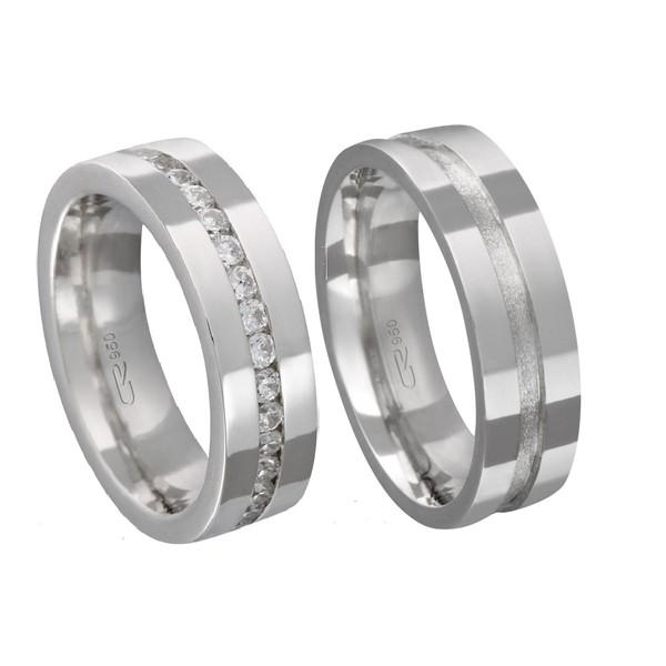 Alianças de compromisso em prata 950 modelo com pedras 6 mm