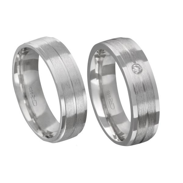 Alianças de compromisso em prata 950 tradicional anatômica com pedra 6 mm