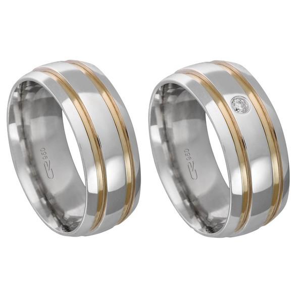 Alianças de compromisso em prata 950 trabalhada com fios de ouro e pedra 8 mm