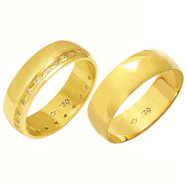 Alianças de casamento e noivado em ouro 18k 750 tradicional com pedras 6 mm