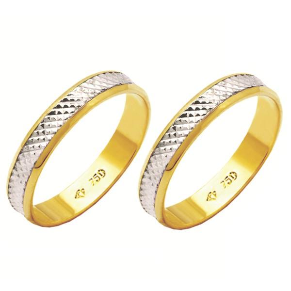 Alianças de casamento e noivado trabalhada 2 tons em ouro 18k 750 4 mm