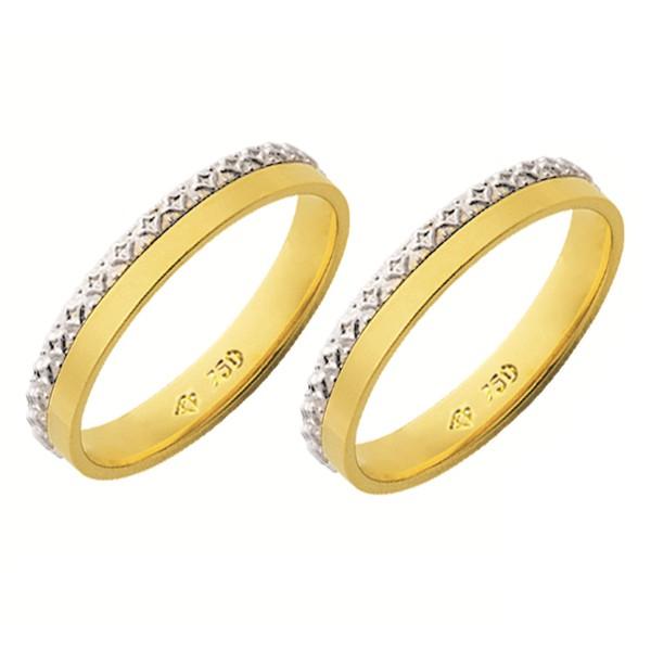 Alianças de casamento e noivado 2 tons em ouro 18k 750 trabalhada 3,5 mm