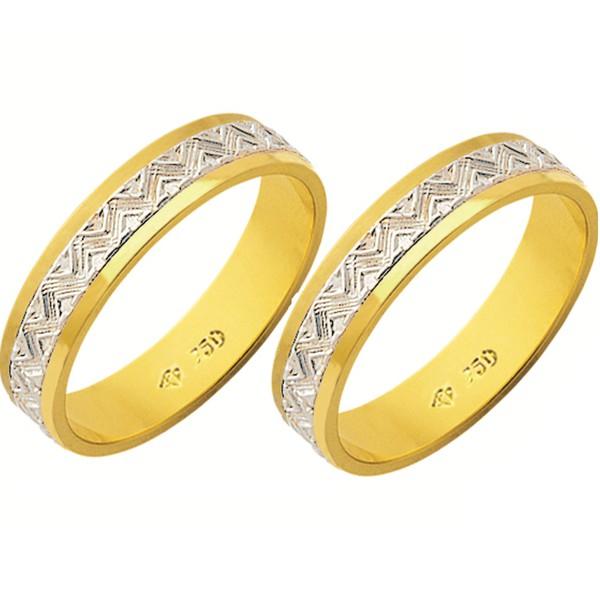 Alianças de casamento e noivado reto 2 tons em ouro 18k 750 trabalhada 4,5 mm