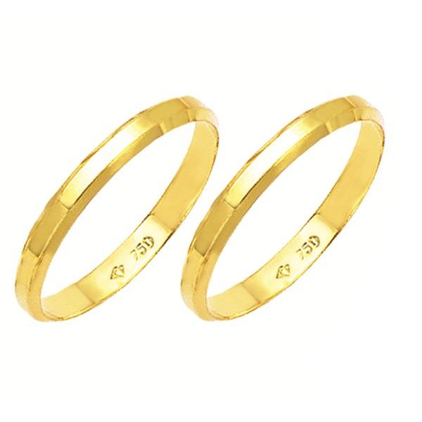 Alianças de casamento e noivado canto quebrado em ouro 18k 750 2,5 mm