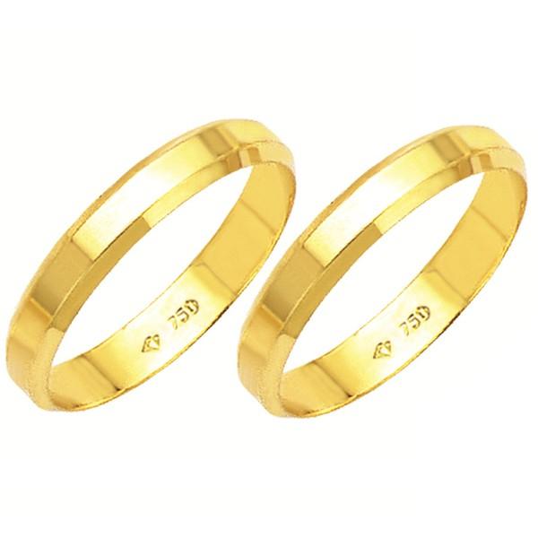 Alianças de casamento e noivado em ouro 18k 750 tradicional canto quebrado 3.5 mm
