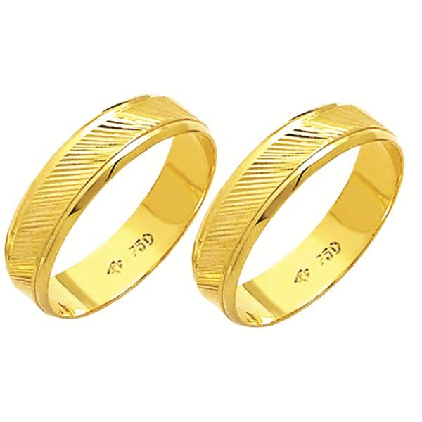 Alianças de casamento e noivado em ouro 18k 750 trabalhadas e diamantadas 5 mm