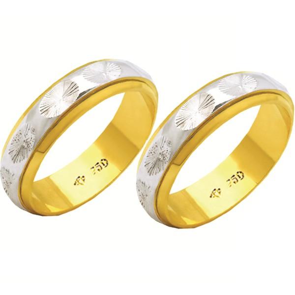 Alianças de casamento e noivado 2 tons em ouro 18k 750 trabalhada 2 mm