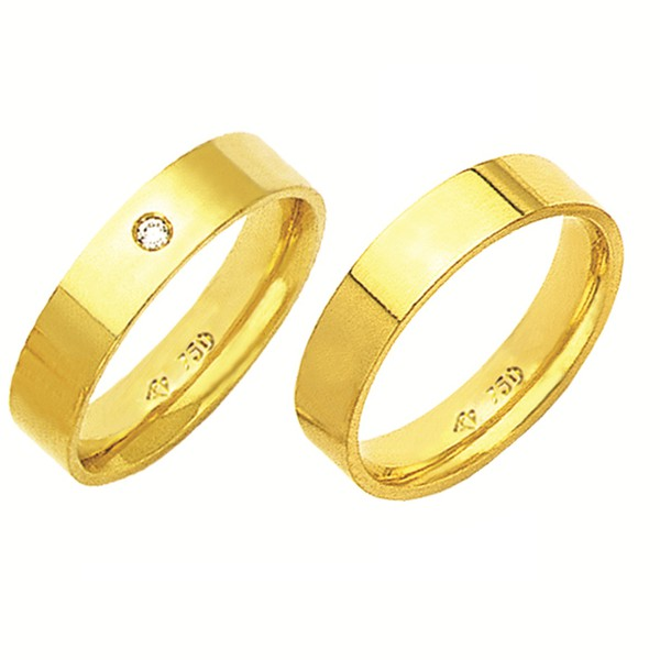 Alianças de casamento e noivado em ouro 18k 750 com pedra tradicional anatômica 5 mm