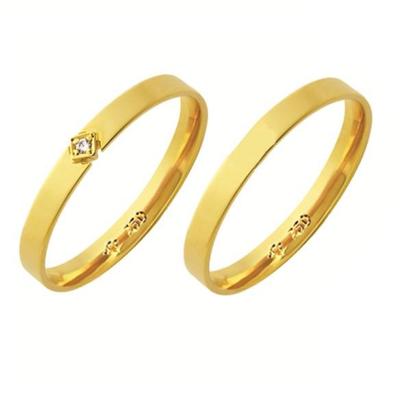 Alianças de casamento e noivado em ouro 18k 750 anatômica com diamante