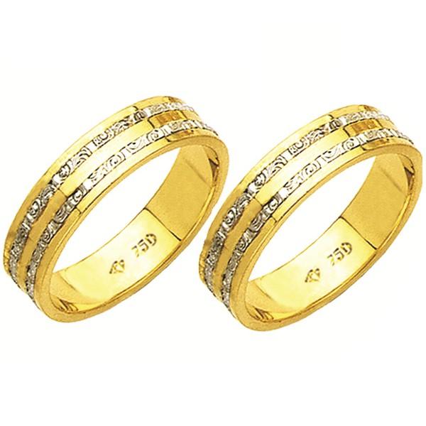 Alianças de casamento e noivado 2 tons em ouro 18k. 750 trabalhada 5.5 mm