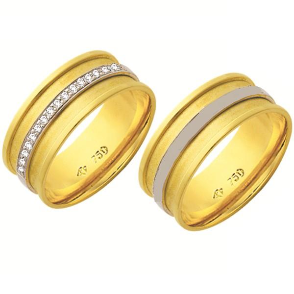 Alianças de casamento e noivado em ouro 18k 750 trabalhadas 2 tons e pedras de diamantes 8.15 mm