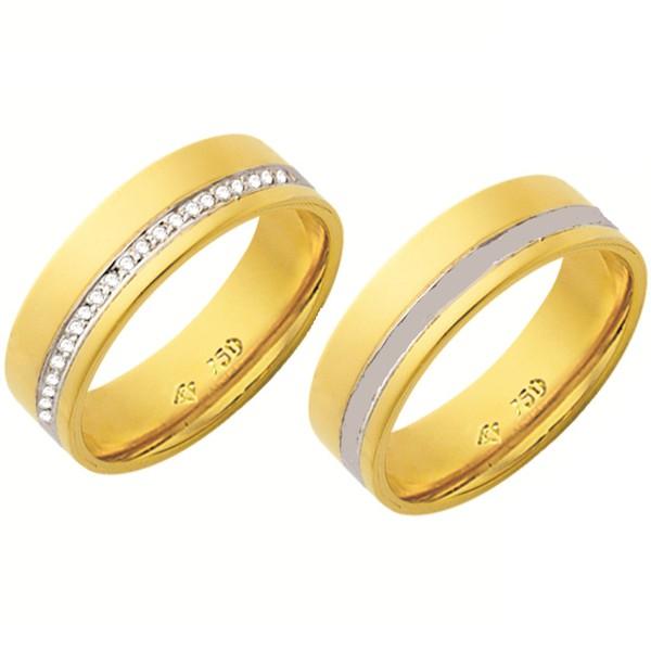 Alianças de casamento e noivado em ouro 18k 750 trabalhadas 2 tons com diamantes 6.15 mm