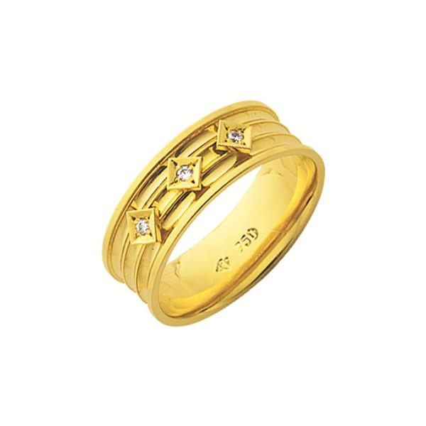 Alianças de casamento e noivado em ouro 18k 750 trabalhadas e anatômicas com 03 diamantes 7.00 mm