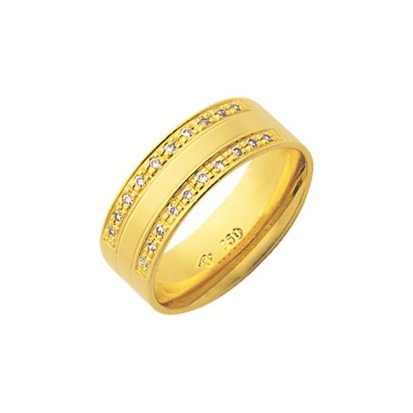 Alianças de casamento e noivado em ouro 18k 750 trabalhadas com pedras 7.00 mm