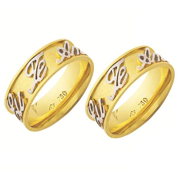 Alianças de casamento e noivado em ouro 18k. 750 trabalhada em ouro branco externo 7 mm