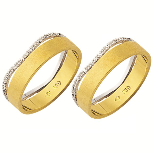 Alianças de casamento e noivado em ouro 18k 750 Trabalhadas 2 tons com pedras de diamantes 6 mm