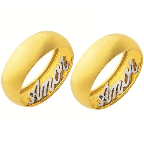Alianças de casamento e noivado 2 tons em ouro 18k 750 trabalhada ouro branco interno 7 mm