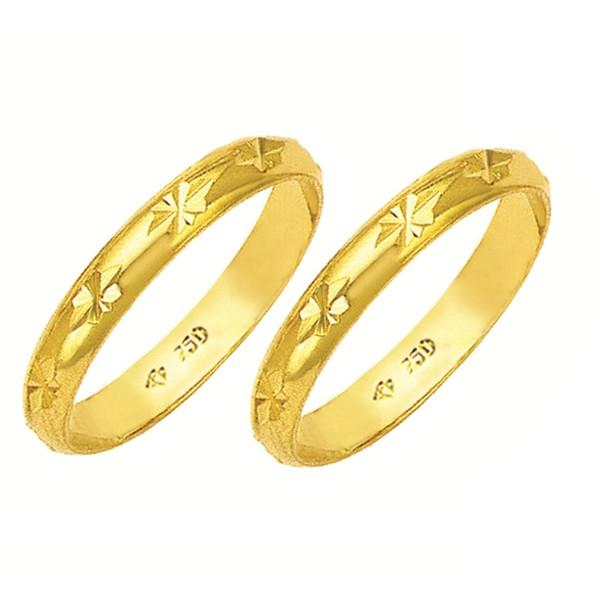Alianças de casamento e noivado em ouro 18k. 750 tradicional e trabalhada 3.5 mm