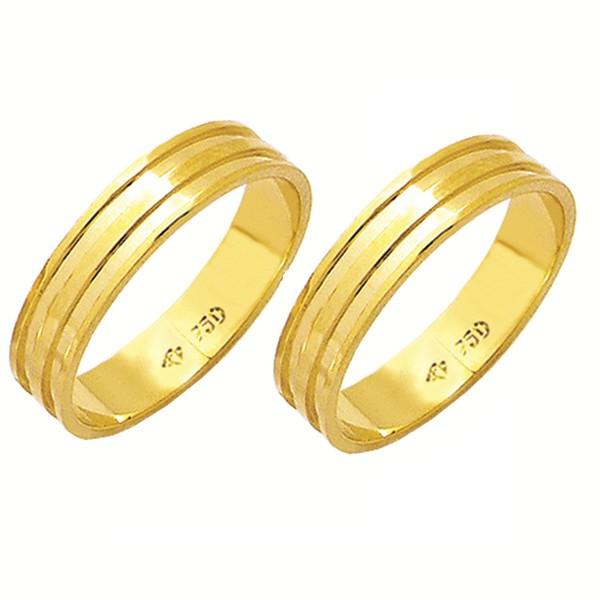 Alianças de casamento e noivado em ouro 18k 750 trabalhadas 4.50 mm