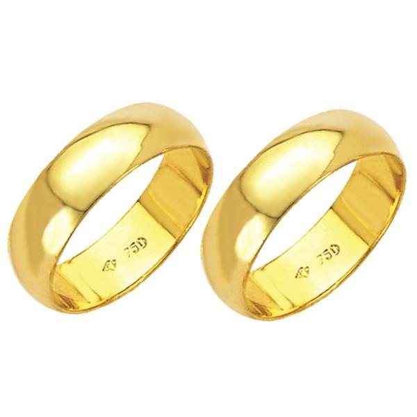 Alianças de casamento e noivado em ouro 18k. 750 tradicional 5,5 mm