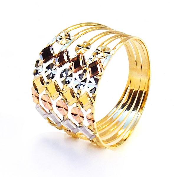 Anel de Ouro 3 cores 5 aros