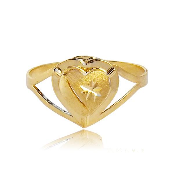 Anel de Ouro 750 com delicado Coração