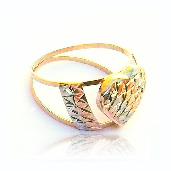 Anel de ouro Coração 3 cores
