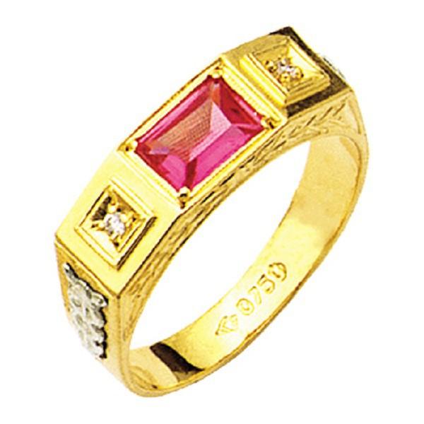 Anel de Formatura com pedra de diamantes em Ouro 18k